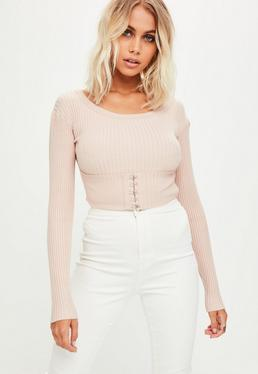 Nude Corset Detail Knitted Bodysuit