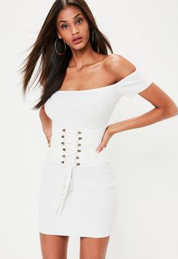 White Corset Detail Bardot Rib Dress