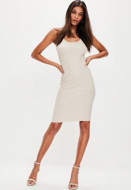 Nude Ribbed Knitted Midi Dress
