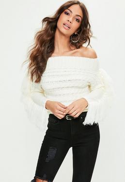 White Fringe Bardot Sweater