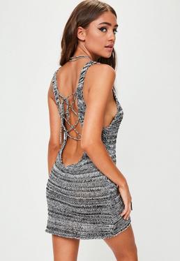 Grey Lace Up Back Midi Dress