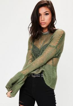 Khaki Grunge Knitted Oversized Jumper
