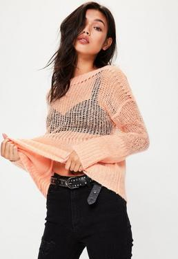 Pink Sheer Knitted Oversized Jumper