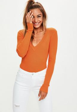Orange Plunge Knitted Bodysuit