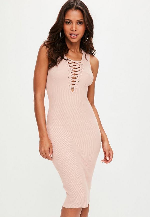 Pink Sleeveless Plunge Lace Up Ribbed Dress