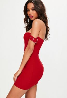 Red Buckle Bardot Mini Dress