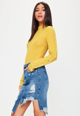 Yellow Popper Detail Ribbed Bodysuit