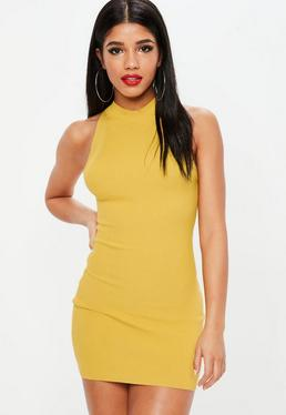 Yellow High Neck Ribbed Mini Dress