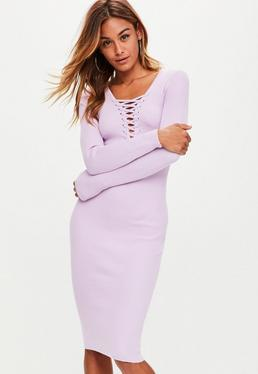 Lilac Plunge Lace Up Knitted Midi Dress