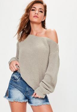 Off-Shoulder Pullover in Grau