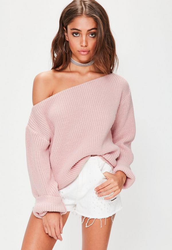 Pink Off Shoulder Knitted Jumper