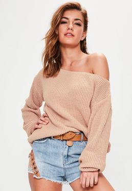 Nude Off Shoulder Knitted Sweater