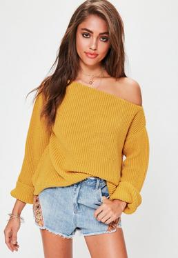 Yellow Off Shoulder Knitted Sweater