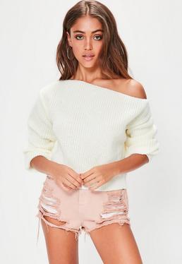Off-Shoulder Crop Pullover in Ecru