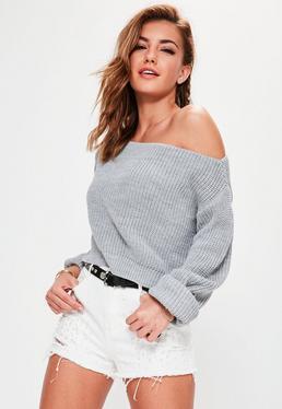 Grey Off Shoulder Knitted Cropped Jumper