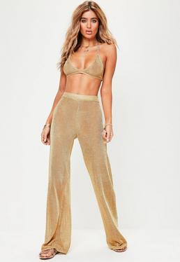 Gold Metallic Wide Leg Trousers