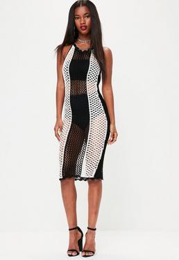 White Crochet Low Back Midi Dress