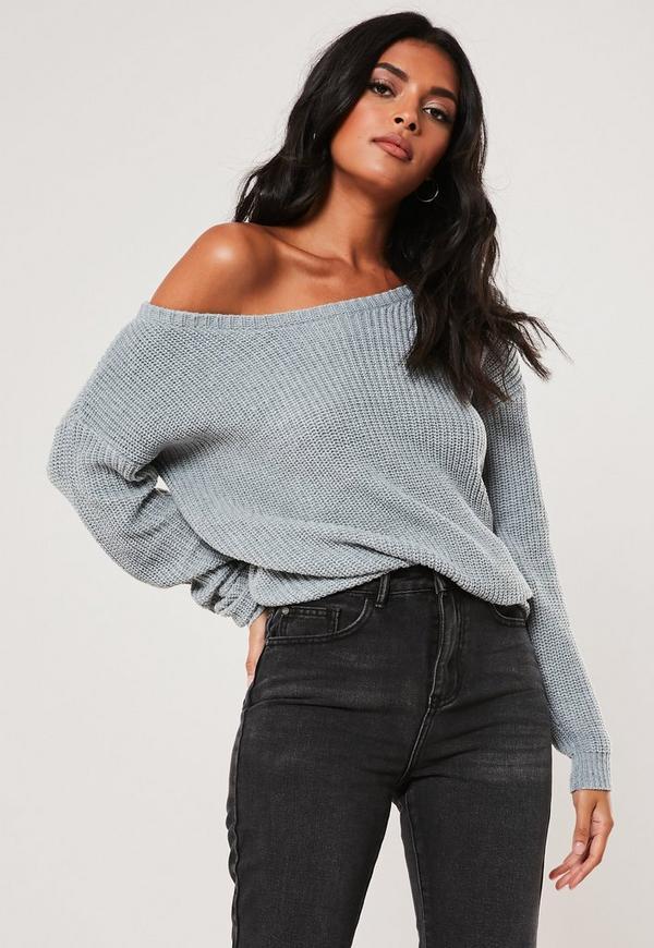 Grey Off Shoulder Knitted Jumper