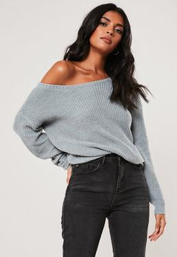 Grey Off Shoulder Knitted Sweater