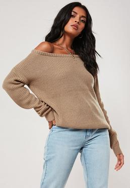 Brown Off Shoulder Knitted Jumper