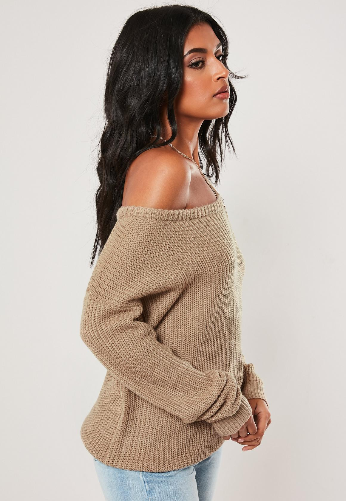 Missguided - pull marron épaule dénudée - 3
