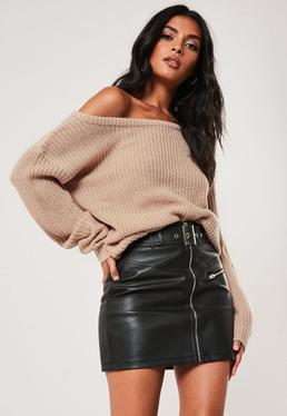5e1658ca640e7 Beige Off Shoulder Knitted Sweater
