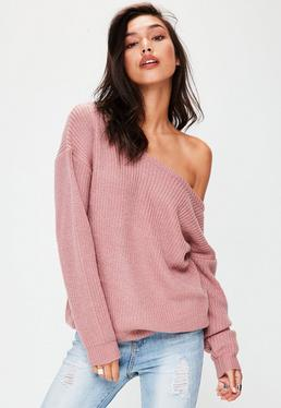 Rose Pink Off Shoulder Knitted Jumper