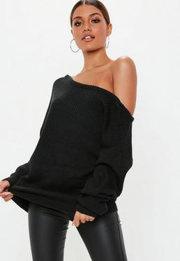 Black Off Shoulder Knitted Jumper