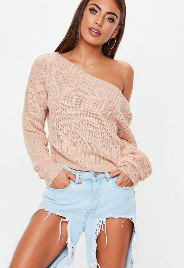Nude Off Shoulder Cropped Knitted Jumper