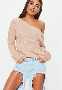 Nude Off Shoulder Cropped Knitted Sweater