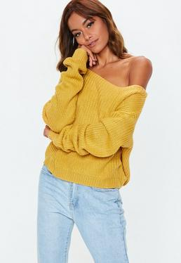 Yellow Off Shoulder Cropped Knitted Jumper