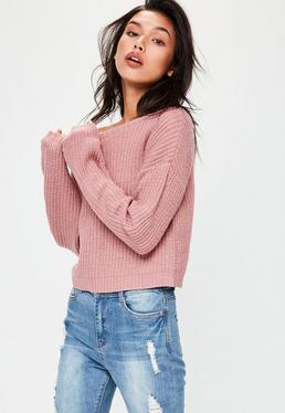 Pink Off Shoulder Cropped Knitted Jumper