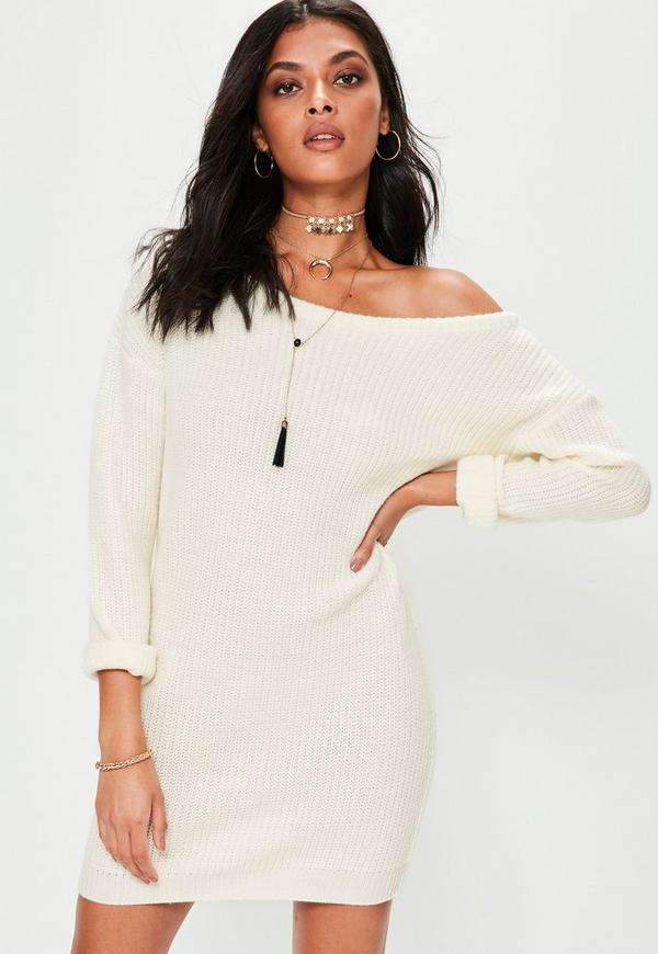 Cream Off Shoulder Knitted Jumper Dress Missguided