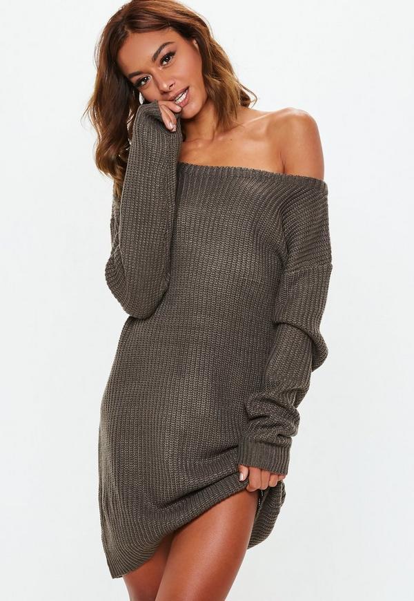 Grey Off Shoulder Knitted Jumper Dress Missguided