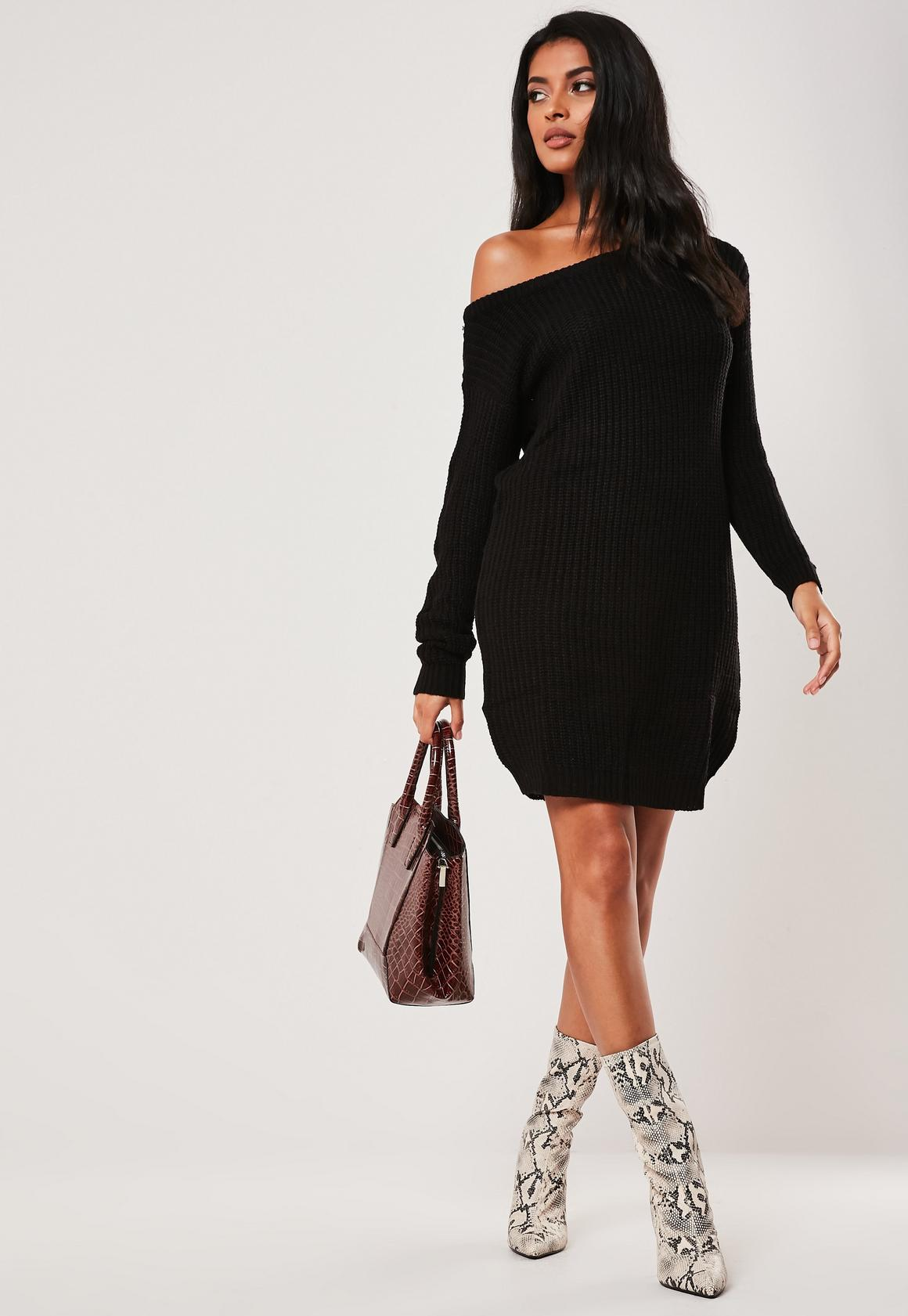 Black off Shoulder Knitted Sweater Dress | Missguided