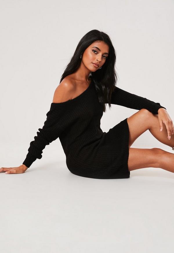 Black Off Shoulder Knitted Jumper Dress Missguided