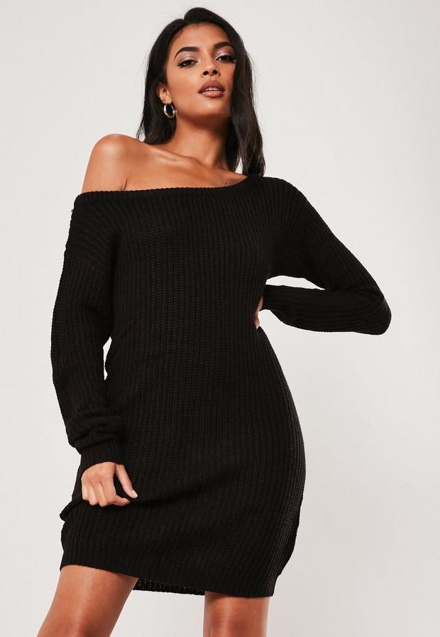 Missguided - Off Shoulder Knitted Jumper Dress - 3