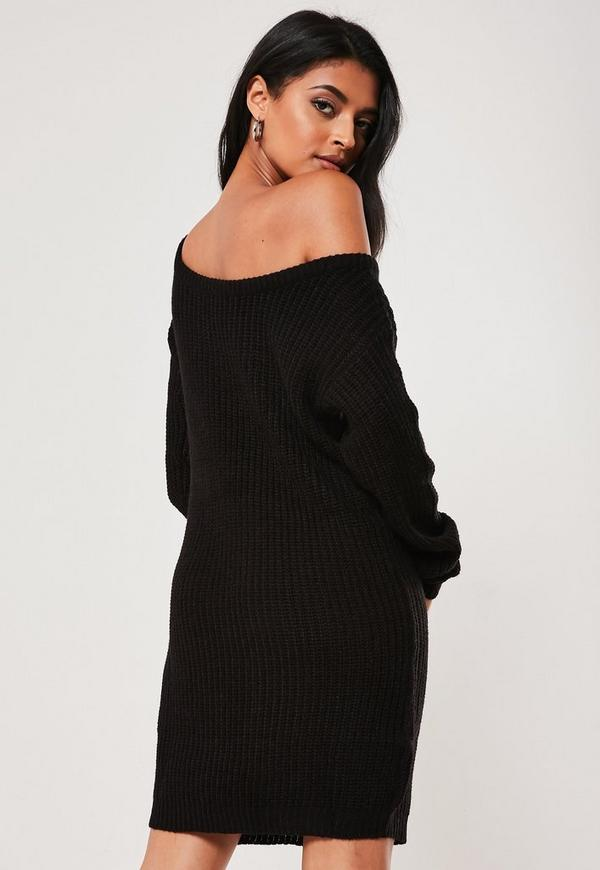 Black Off Shoulder Knitted Jumper Dress Missguided