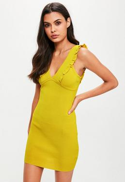 Yellow Frill Detail Knitted Mini Dress