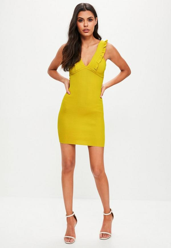 Yellow Frill Detail Knitted Mini Dress Missguided