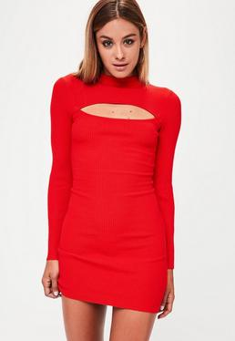 Red Peek A Boo Knitted Mini Dress