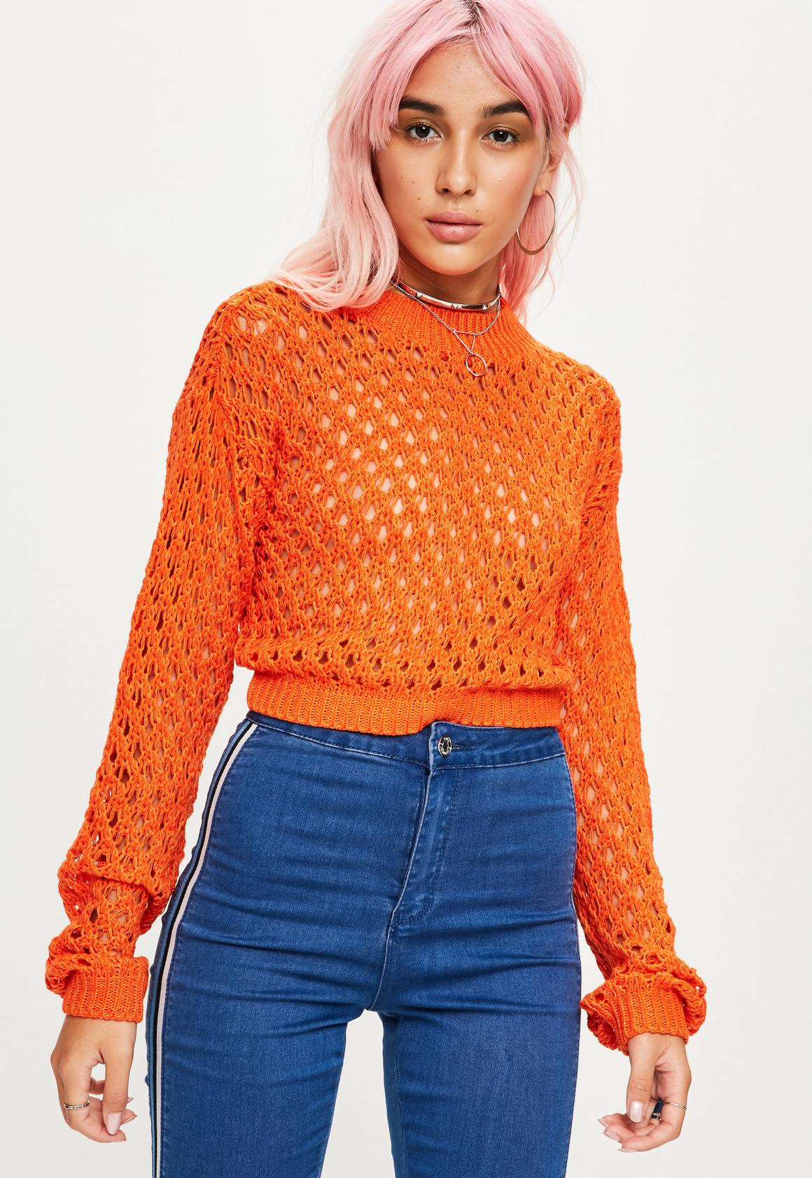 Orange High Neck Open Knit Cropped Sweater | Missguided