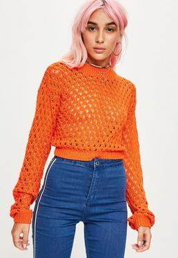 Orange High Neck Open Knit Cropped Sweater