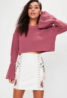 Pink Flared Sleeve Knitted Cropped Jumper