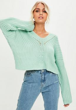 Green Slouchy Knitted Jumper