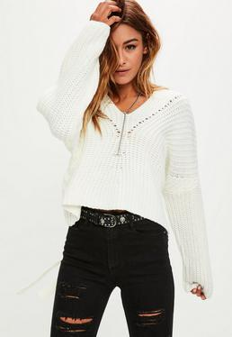 White Slouchy Knitted Sweater