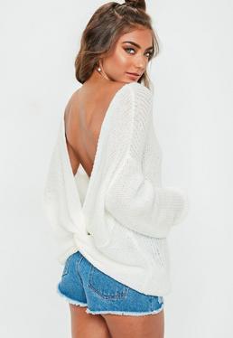 Jersey de punto suave espalda anudada en blanco