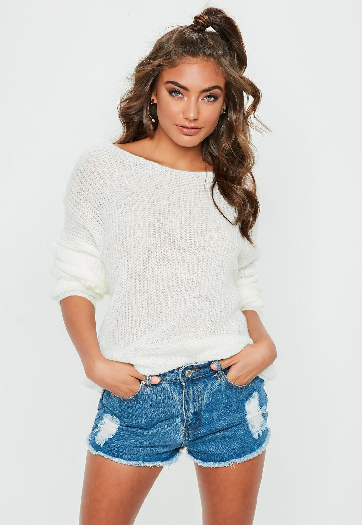 Missguided White Fluffy Yarn Twist Back Oversized Knitted Jumper ... f0e7dcfc8