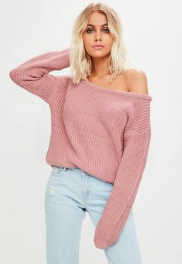 Pink Off Shoulder Cropped Sweater