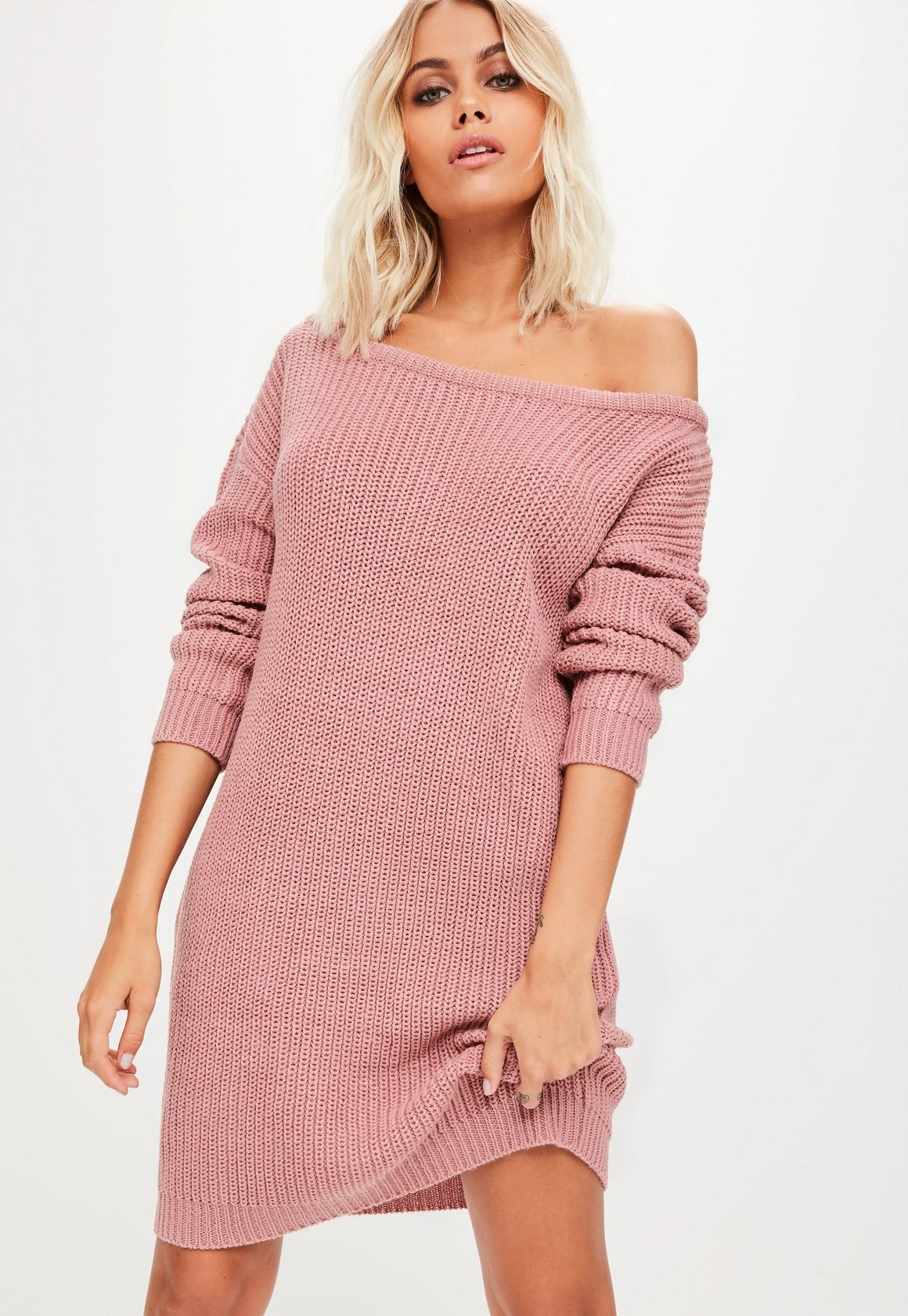 Pink Off Shoulder Sweater Dress | Missguided